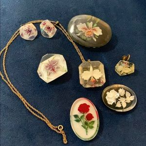 Group of vintage lucite earrings necklace pin